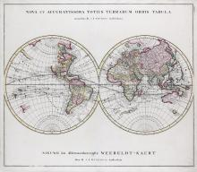 Ottens (Reinier and Joshua)   Nova et Accuratissima Totius Terrarum Orbis Tabula, double-hemisphere world, peninsular California but northwest North America blank, speculative coast of Australia joining Papua New Guinea, titled in Latin above, and in Dutch below, engraved map with extensive original hand-colouring, 520 x 600mm., central vertical fold, minor marginal surface dirt, Amsterdam, [c.1740].