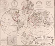 Gendron (Pedro)   Mapa Mundi o Descripcion del Globo Terrestre, double-hemisphere world map after De l'Isle, with smaller north and south polar hemispheres upper and lower centre, respectively, 4 orbital diagrams above, with a diagram of the cartesian system of interplanetary turbulence, lower left along with a list of mapsellers in various Spanish cities, title cartouche with the dedication to Marques de Gouvea, lower right, engraved map with original outline hand-colouring, 480 x 570mm., central vertical fold, a few neat marginal repairs, a rust spot lower right, outside the borderline, Paris, [c.1750].