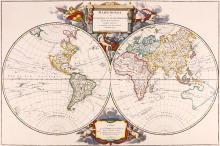 Robert de Vaugondy (Didier)   Mappemonde ou Description du Globe Terrestre, double-hemisphere world, with the north-west of North America left unknown, and speculative outlines of Australasia, large title cartouche supported by allegorical figures of four continents, celestial heralds, and water and land deities upper centre, engraved map with hand-colouring, 490 x 735mm., faint old vertical folds, Paris, Robert de Vaugondy and Boudet, 1752.