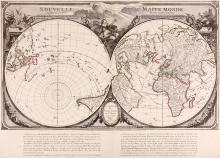 Santini (François)   Nouvelle Mappe Monde dediée au progrès de nos connoissances, double-hemisphere world map with oblique polar hemispheres set in an elaborate pictorial surround, titled above, an extensive text panel below, scant outlines of Australia and New Zealand, and north-western North America speculatively outlined, engraved map with original hand-colouring in outline, 490 x 680mm., central vertical fold, Venice, Giovanni Antonio Remondini, 1784.