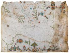 Oliva (Franciscus) Circle of.    Manuscript Portolan Chart on Vellum of the Eastern Mediterranean, a double-page chart from a portolan atlas, centred just off the north east coast of Crete, extending from the southern tip of Italy, Greece and islands, to the Levant, with the Red Sea and the North African coast as far as Libya, 'Asia' and 'Africa' title banderoles upper right and lower centre, respectively, with vestiges of a corresponding 'Europa' banderole upper left, numerous coastal place names, 1 and a half large and 14 variously smaller compass roses, rhum lines, 3 large floral urn motifs, 2 large crowned shields with the Ottoman crescent moon in Turkey and North Africa, a long-legged and -necked, crested bird, probably a bustard, in Asia Minor, with a camel and a palm tree in North Africa, the shields and creatures oriented to the left, Rhodes coloured with the cross of the Knights Hospitaller, ink, watercolour and gouache, extensively heightened in gold, 540 x 670mm., a central vertical fold, dampstained at the right sheet edge, affecting the Levant coast and half of Cyprus, uneven loss at the upper sheet edge including all but the ends of the 'Europa' banderole, the sheet lined with Japan tissue, [?Marseilles], [c.1650].    This portolan chart bears fair comparison with an anonymous example held in the library of the University of California at Berkeley (ref:HM 34), in the style of crowned armorial shields bearing a crescent moon, and the particular foliate decoration elsewhere, identified only as French, and again to the same stylistic features, including an identically posed camel, in the portolan charts of an atlas in the library of Edinburgh University (ref:0002080), gifted as early as 1690, and more firmly attributed to Franciscus Oliva, of the famous Catalan family of chart-makers, who was known to be settled in Marseilles in the mid 17th century. Although the island of Rhodes fell to the Ottoman invaders in 1522, it continued to be identified with the cross of the Knights Hospitallers for the next century and more, as here, despite them having relocated to Malta. Originating in Italy as early as the 13th century, such charts sprang from the growing appetite for voyaging by sea, becoming known as 'portolani' because of their concentration on coasts and ports. The growing value of trade, with the commensurate rise in national rivalries, made them commercially sensitive documents, often jealously guarded. As such, despite being exquisitely decorative to our eyes, they had a very practical purpose as working navigational aids, hence the preference for vellum as the material of choice, for its greater durability and resistance to moisture compared to paper.