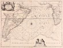 Jansson (Jan)   Mar di Æthiopia vulgo Oceanus Æthiopicus, Atlantic chart from 'Atlas Novus', with all the north-east of South America and the western half of Africa from Guinea and Benin to the Cape of Good Hope, with Terra Australis Incognita extending across the width of the map, below, title cartouche supported by costume figures, lizards, parrots and tortoise, upper left, scale cartouche with surveyor and putti, lower right, compass rose and rhum lines, engraved map, 440 x 555mm., Latin text with woodcut initial on verso, repaired along central vertical fold, Amsterdam, [c.1650].