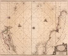 Goos (Pieter)   Pascaerte vande Vlaemsche, Soute, en Caribesche Eylanden, chart of the western Atlantic from the 'Zee Atlas', north oriented to the left, extending from the Azores and Cape Verde Islands to the coasts of Newfoundland and Nova Scotia, south to Delaware, the Caribbean as far as the Dominican Republic, and the north coast of South America from Venezuela to the tip of Brazil, with 2 ships, 2 compass roses and rhum lines, title cartouche supported by native figures, lower right, engraved chart by Abraham Deur, with original hand-colouring in outline, 450 x 545mm., a repair in the left margin, slight browning and spotting, Amsterdam, [1666].