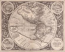 Mercator (Michael)   America sive India Nova, North and South America with a large Antarctic land mass stretching above the Tropic of Capricorn towards a speculatively defined New Guinea, a north polar land mass centred on a mythical sea with rivers radiating out, the hemisphere set within a leaf scroll border with 4 corner medallions, 3 with inset maps of the Gulf of Mexio, Cuba, and Haiti, the lower right bearing the title, engraved map, 380 x 465mm., Latin text with large woodcut initial on verso, central vertical fold, pale even browning, a strong impression, [Burden 87], Duisburg, [1606].   The only map bearing Michael Mercator's name and one of the most important early maps of the Americas, it was produced to complete his late grandfather Gerard's atlas, 'Atlantis pars Altera., begun in 1584, and was based on Rumold Mercator's world map of 1587.