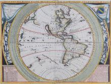 Coronelli (Vincenzo Maria)   Planisfero del Mondo Nuovo, western hemisphere, showing the Americas with California as an island, recent discoveries in New Zealand, and the mythical land bridge between Asia and Alaska, surrounded by circular tables of measurements, signs of the zodiac to the sides, revised for the 2nd edition, titled above, engraved map with hand-colouring, 460 x 620mm., small surface loss in antarctic region of central vertical fold, Venice, [1691].