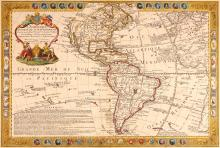 Danet (Guillaume)   L'Amerique Meridionale et Septentrionale, attractive, separately published, map of the Americas, with the west coast of Africa, most of the Mediterranean and some of southern Europe, decorative border with 18 portrait medallions of explorers and South American rulers, above and below, each described in a text panel lower left, lower border also with the arms of Nouvelle France, Canada, Mississippi, Nouvelle Espagne, Mexique, Perou, Païs Portugais, Brezil and Canaries, the signs of the zodiac in the side panels, large title cartouche with celestial and costume figures, upper left, engraved map with hand-colouring, 505 x 725mm., central vertical fold, slight browning and surface dirt, Paris, 1731.