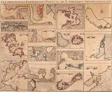 [Popple (Henry)]   Les Principales Forteresses Ports &c de L'Amérique Septentrionale, sheet of 18 individual plans of ports, harbours and islands, issued to accompany Covens and Mortier's 4-sheet edition of Popple's  map of North America, French title above, all but one plan with title banderoles in English, comprising Harbour of Placentia, Anapolis Royal, Boston Harbour, New York and Perthamboy Harbour, Charles Town, St Augustin, Providence, Havana, St Iago in Cuba, Port Antonio in Jamaica (this with inset fortification), Fort Royal in Martinica, Island of Barbadoes, Antigua, Kingston Harbour, Bermuda or Summer Island, Curaçao (without title but with compass rose), Cartagene on the coast of New Spain, and Porto Bello, engraved chart, 505 x 605mm., central vertical fold, trimmed to borderline and remargined, some browning, Amsterdam, Jean Covens and Corneille Mortier, [c.1740].