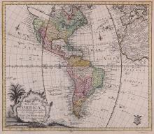 Euler (Leonhard)   Tab. Geogr. Americæ, the Americas, from Euler's schools atlas, 'Atlas geographicus omnes orbis terrarum regiones in XLI tabulis', with much of south-west Europe and west Africa, seashell title cartouche set in a vignette landscape, lower left, engraved map with original hand-colouring, 315 x 385mm., pale even browning, Berlin, [1753].