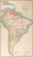 Cary (John)   A New Map of South America, large 2-sheet map of the continent and the Caribbean, oval title cartouche upper right, engraved map with full original hand-colouring, on two sheets, joined, 960 x 600 mm., slight browning along a central vertical fold to each sheet, 1807.