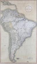 Cary (John)   A New Map of South America from the Latest Authorities, large 2-sheet map of the continent with the southern Caribbean, oval title cartouche upper right, engraved map with full original hand-colouring, on two sheets, joined, 960 x 600mm., pale even browning, 1807 § Wyld (James) Colombia Prima, or South America, Drawn from the Large Map in Eight Sheets by Louis Stanislas D'Arcy Delarochette, engraved map with original hand-colouring in outlined, on two sheets, joined, 1100 x 795mm., sight surface dirt and occasional very faint offsetting, [c.1850] (2)