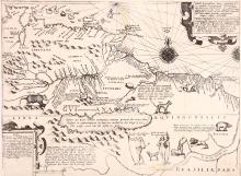 De Bry (Theodore)   Tabula Geographica nova Omnium oculis exibens, map of Guiana after Hondius, to accompany 'Americae pars VIII', from an account of the explorations of Sir Walter Raleigh, depicting the fictitious lake Parime with the city of El Dorado on its northern shore, strapwork title and text cartouches upper right and lower left, a large compass rose and another half rose, various wild animals, including armadillo, tortoise, and lion, an Amazonian warrior and a headless man, engraved map, 335 x 450mm., uneven lower sheet edge missing off blank corner of plate, [Frankfurt am Main], [1599].
