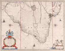 Blaeu (Johan)   Brasilia, detailed map of the Brazilian coastline, with numerous place names, north oriented to the right, decorative armorial title cartouche, with dedication to the Polish-born vice-governor and military chief of Dutch Brazil, Krzysztof Arciszewski, lower left, 2 compass roses and 3 ships, engraved map with outline hand-colouring, 390 x 500mm., French text verso, central vertical fold, wide margins, Amsterdam, [c.1640].