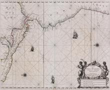 Goos (Pieter)   Pascaerte van Nova Hispania, Chili, Peru, en Guatimala, coastal chart of southern Mexico, the Yucatan peninsula, the isthmus of Panama, Peru and northern Chili, north oriented to the left, decorative title cartouche lower right, 3 ships, 2 compass roses and rhum lines, engraved map with original hand-colouring in outline, 450 x 545mm., central vertical fold, a few repaired short tears at edges, Amsterdam, 1666.
