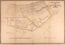 Weyll (Carlos Augusto) After.   Planta do Arsenal  de Guerra de Bahia yuntamente com o terreno adjacente pertencente a Wenceslas Miguel d'Almeida, pelo Engenheiro Carlos Augusto Weyll, 1851, manuscript plan drawn by Manoel Archanjo de Jesus, of the arsenal at Bahia in north eastern Brazil, and the adjacent land belonging to merchant and slave trader, Wenceslas Miguel d'Almeida, north oriented to the lower left, pen and black ink with touches of watercolour defining boundaries, with corresponding key lower left, 500 x 725mm., some splitting on old folds, 1851.