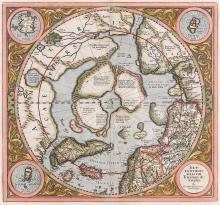 Mercator (Gerard)   Septentrionalium Terrarum Descriptio, central circular map of the North Pole, extending south to the nothern tip of Scotland, the decorative border with inset maps of the Shetland Isles, the Faroes and Frisland , second state including the island of Spitsbergen (t'Nieulant), engraved map with hand-colouring, 375 x 395mm., central vertical fold, [Amsterdam], [1606 or later].   ***First issued in 1595, this was the first map centred on the North Pole, showing it as a rocky island in the middle of a lake with four rivers branching out through the surrounding land mass. It also includes the fictional island of Frisland, which confused travellers and mapmakers for a century or so after its first appearance on Niccolo Zeno's map of 1558, charting the spurious travels of his ancestors, in a bid to claim discovery of America for Venice.