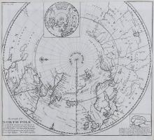 Moll (Herman)   This Draught of the North Pole is to show all the Countries near and adjacent to it, north polar hemisphere to the 50th parallel, just south of the British Isles, with an inset polar hemisphere to the Tropic of Cancer, upper centre, and a small inset map of Nova Zembla and Waygats, lower right, titled lower left, engraved map, 380 x 430mm., trimmed to the upper border and remargined, [1705].