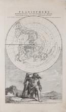 Renard (Louis)   Planisphere Representant Toute l'Entendue du Monde, the entire world represented on a circular, north polar, projection, carried on the shoulders of the allegorical figure of Atlas, kneeling in a landscape, titled above, from 'Atlas de la Navigation et du Commerce', engraved map, 440 x 270mm., minor handling creases, Amsterdam, [1715]; with Planisphere suivant la Projection de Mercator, by Jean Palairet, engraved map with full hand-colouring, 220 x 335mm., central vertical fold, [c.1750] (2)