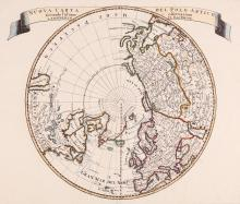 Tirion (Isaak)   Nuova Carta del Polo Artico, north polar hemisphere with title banderole above, engraved map with hand-colouring, 295 x 350mm., central vertical fold, [Venice, Albrizzi], [c.1740]; with the small pair of Carte von der Alten Welt and Carte von der Neuen Welt, after Vaugondy for de Buffon's 'Allgemeine Naturgeschichte', laid on board supports, [c.1750]; a pair of 18th century English Eastern and Western Hemispheres from the Latest Discoveries, and a small 18th century map of the Americas, showing California as an island (6)
