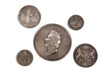 George IV, John Rennie Esq, F.R.S Engineer London Bridge, 15th June 1825 silver medal by William Bain, after Sir Francis Leggatt Chantrey  head left, rev, view of bridge and 'The first stone of this work laid by the right Hon John Garratt Lord Mayor of London on the XV day of june MDCCCXXV and in the sixth year of the reign of his majesty George IV' below, Jolliffe and Banks Contractors. 64mm diameter. Together with; Victoria, First Stone laid by HRH Prince Albert Royal Exchange Jan 17 1842, silver medal by William Wyon 28 mm diameter. Edward Routh The City, silver medal, by William Wyon. Caroline Protecting 1736 silver medal (converted to broach) by John Sigismund Tanner. Plus London Bridge Commenced 16 June 1826 Opened1 August 1831, tin medal. (5)  £300-500   The bronze edition of the John Rennie medal held within the National Portrait Gallery (NPG 679)
