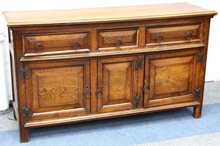 An oak low dresser, 18th century style, fitted wit