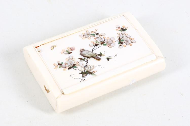 A Japanese Meiji period Shibayama ivory box, the c