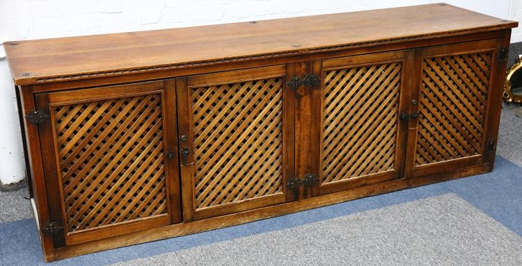 A studded hardwood low cabinet, the four lattice d