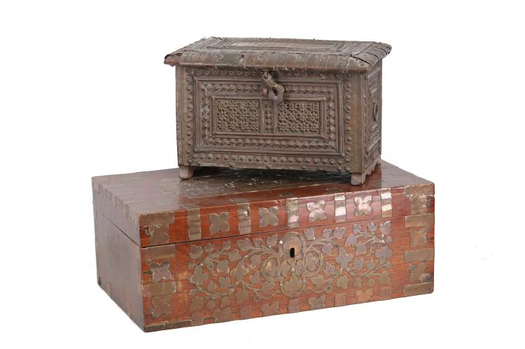 An Indian brass bound and inlaid polished wooden w
