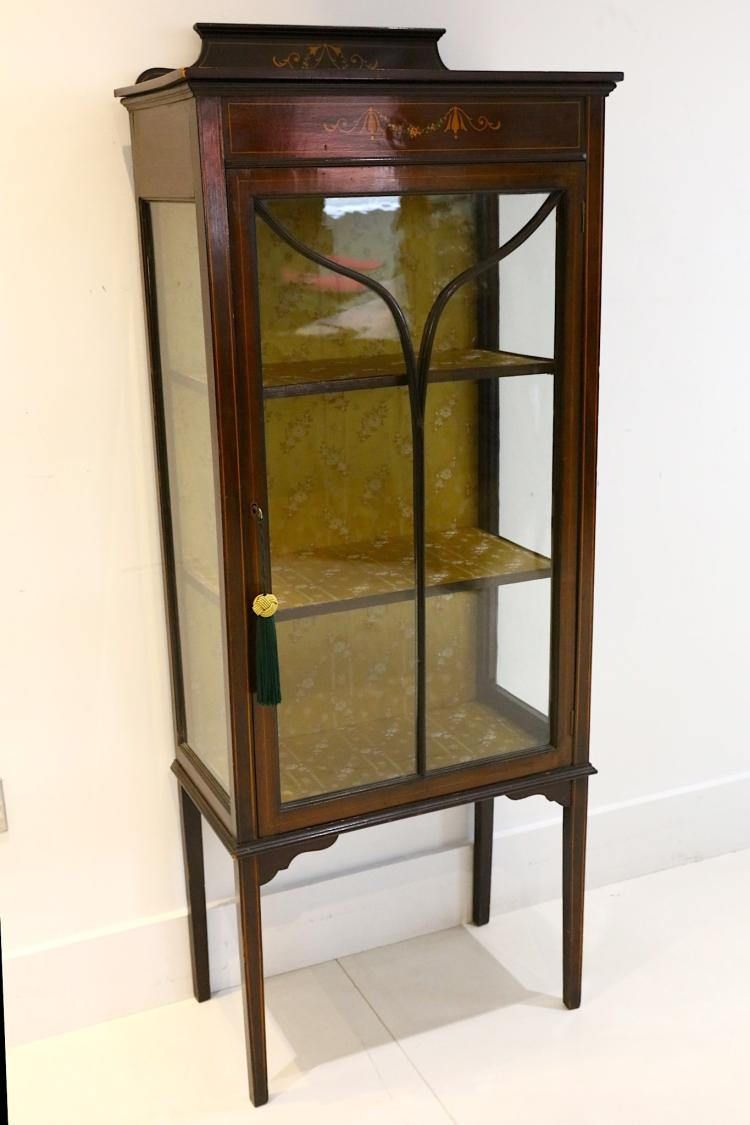 An Edwardian mahogany display cabinet, with printe