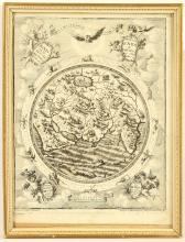 AFTER HEINRICH SCHERERE 1628-1704. 'Spiritus dei Ferebatur'. Engraving depicting the creation of the Eastern Hemisphere, forming one of the title pages from Scherer's Atlas. Published Munich 1705. Framed. 27cm x 19cm.
