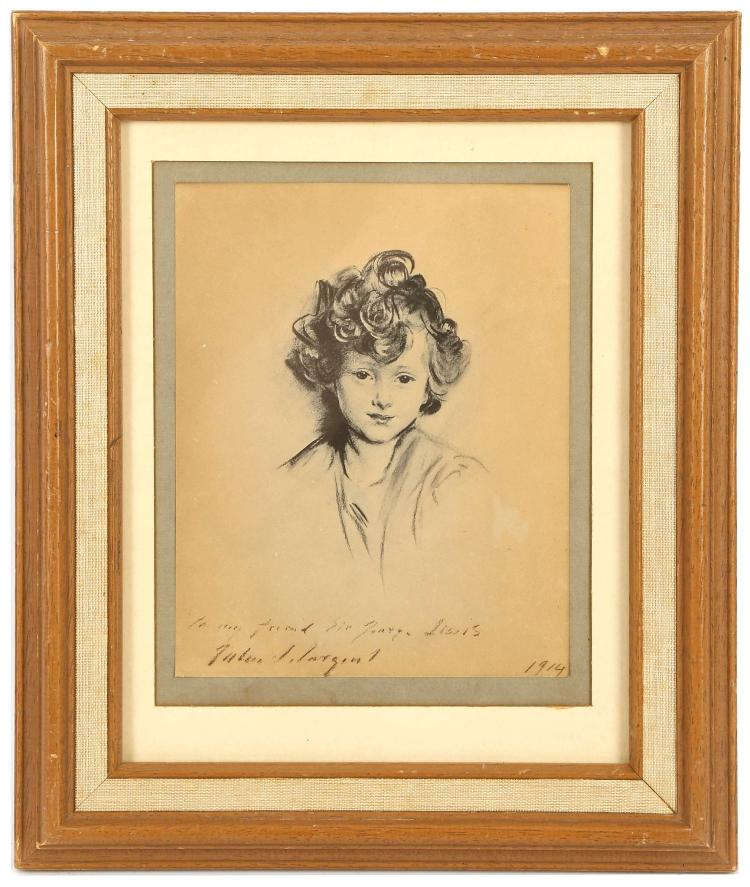 JOHN SINGER SARGENT R.A. 1856-1925. 'Portrait of a Young Boy'. Lithograph on buff paper, with printed inscription: 'To my friend Sir George Lewis', dated 1914. With stamp verso for Paul Laib, Fine Art Photographer. Mounted and framed, 18.5cm x 14.5cm.