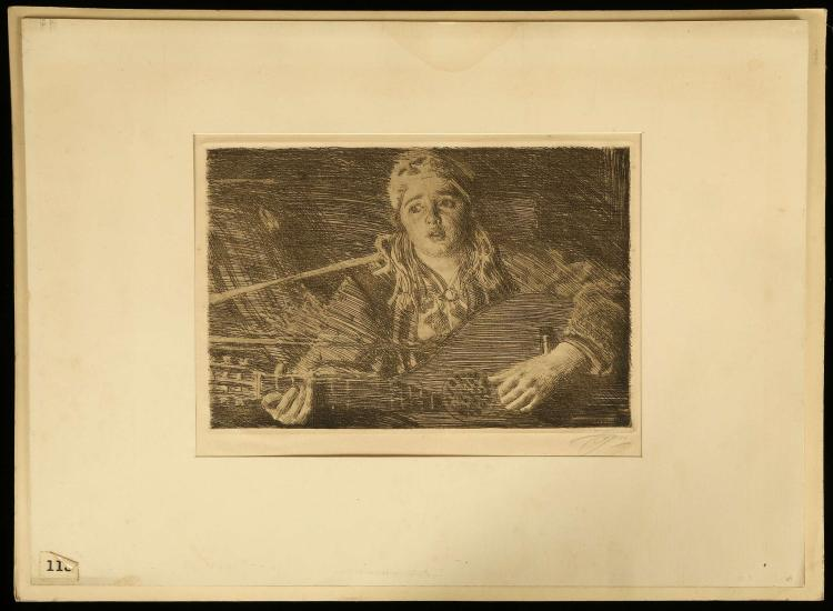 ANDERS ZORN 1860-1920 SWEDISH, 'Vicke'. Etching. 1918. Pencil signed, Hjert and Hjert No: 166. Mounted. 19.9cm x 29.5cm. Together with: 'Ols Maria'. Etching. 1919. Pencil signed. Mounted. 19cm x 28.5cm. An exceptional print maker, as an oil painter his sitters included three American Presidents. (2).