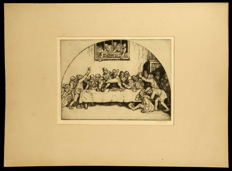 WILLIAM STRANG 1859-1921. 'The Feasting'. Rare etching. Pencil signed lower right. Title in pencil lower left and marked as S655. With full margins. Mounted. 19.6cm x 27.7cm.