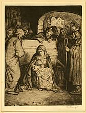 WILLIAM STRANG 1859-1921. 'Nativity'. Rare etching. 1901. Pencil signed lower right. Title in pencil lower left. Further signed in the plate. With full margins. Mounted. 19.9cm x 15.1cm.