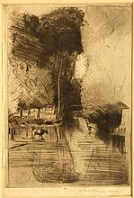 DONALD SHAW MACLAUGHLIN 1876-1938 AMERICAN, b. Canada - Prince Edwards Island, d. Morocco. 'Landscape Poplars, Canal and Cow'. A rare evocative drypoint landscape etching, probably France. Pencil signed lower right. Mounted. 13.8cm x 10cm. A/F.  Like Whistler, MacLaughlan travelled to Europe to study in Paris, enrolling in the Ecole des Beaux Arts and studied further with Gerome and Laurens. In 1899 he began producing etchings. By 1907, such was his reputation as an exceptionally skilled print maker, he was entrusted by the French Government with several original plates by Rembrandt, for reprinting. Although regarded as one one of America's most important etchers, Shaw was born in Canada.