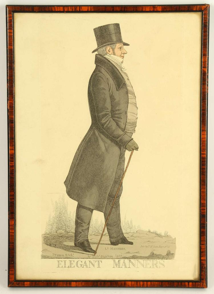 AFTER RICHARD DIGHTON, a good set of early 19th Century colour portrait engravings, all mounted and framed. 'Elegant Manners', A Princely Ambassador', 'Kangkook', 'A Good Whip', 'The Hero of the Chase', 'A View from Knightsbridge Barracks', 'A View from the Old South Sea House', 'The Privvy Seal'. Also, engravings after Gilray and Cruikshank', 'Reflections of an Exquisite', 'A Dandy', 'An Exquisitie', 'Dandy's Toilette', 'The Stays', and 'Monstrosities'. (14).