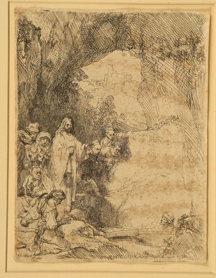REMBRANDT VAN RIJN 1606-1669. 'The Raising of Lazarus'. Etching 1642. Mounted. 15cm X 11.4cm plate size. Trimmed to margins. Signed within the plate Rembrandt f 1642. (B., Holl. 72; H. 198).