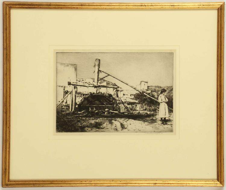 MORTIMER MENPES 18955-1938. 'The Water Wheel'. Drypoint etching with aquatint. Pencil signed lower right. Mounted, glazed and framed. Plate size 21cm x 29.8cm.