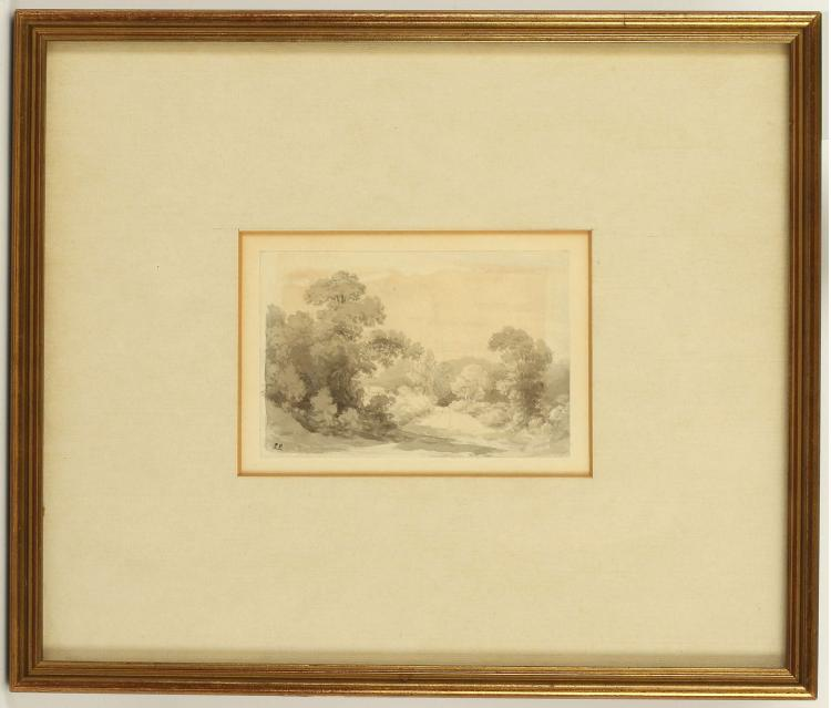 JOHN GLOVER 1767-1849. 'Cows Standing in a River', and 'Trees with Lane'. A pair of pencil and grey wash, and pen and ink works. Mounted and framed, 7.4cm x 11.8cm. Labels verso for The Fry Gallery, Jermyn St. (2), A/F.Glover held his first one man show in 1823 and travelled to Australia in 1831.
