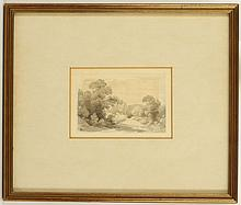 JOHN GLOVER 1767-1849. 'Cows Standing in a River', and 'Trees with Lane'. A pair of pencil and grey wash, and pen and ink works. Mounted and framed, 7.4cm x 11.8cm. Labels verso for The Fry Gallery, Jermyn St. (2), A/F. Glover held his first one man show in 1823 and travelled to Australia in 1831.