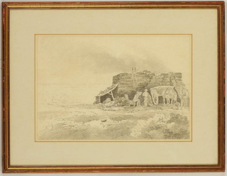 PAUL SANBY MUNN 1773-1845. 'Stone Masons Resting'. Pencil with grey wash. Label verso for The Fry Gallery, Jermyn St. Mounted and framed, 26cm x 39cm.