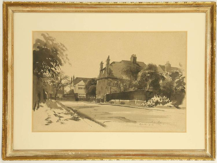 PIETRO ANNIGONI 1910-1988. ' A London Suburb'. Pen and ink with wash, 1949. Signed lower right and inscribed 'XLIX'. Mounted and framed. 36cm x 56.5cm.