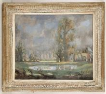 ROWLAND SUDDABY. 'Ponds and Elms, Autumn, Suffolk'. Oil on canvas landscape. Signed lower right and dated '41. Label verso for Leger and Son, Bond Street. In a lime washed frame 60cm x 90cm.