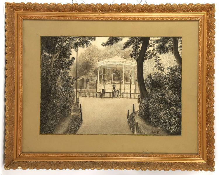 A. ROGEZ, 19TH / 20TH CENTURY. 'Bandstand Boys'. A distinctive pen, ink, wash, conte and chalk en-grisaille composition. A group of boys, some with hoops, face the viewer. Signed lower right and dated 1906. In a good gilt frame, mounted and glazed, 34cm x 49cm.