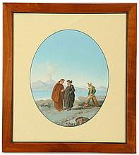 GATTI DOMENICO 1892-1916. A set of four Neapolitan views, gouache and body colour. In the oval. Depicting' 'Cleries in front of Vesuvius', 'The Sardine Seller', 'Vegetable Seller' with his laden Donkey', and 'The Net Menders'. Two signed lower right. 32cm x 26cm. Framed (4).