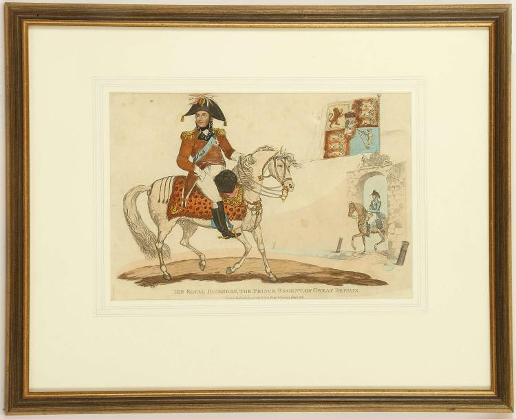 JUDITH OLDHAM, LATE 18TH CENTURY. 'George III in his Coronation Robes'. Watercolour with body colour, and applied details in relief. An unusual depiction of the monarch set within a decorated border of ribbons, flowers and the Royal Crest. Signed to lower right: 'Judith Oldham Pinxt, 1785'. 31.5cm x 19.5cm. Mounted and framed. Together with: 'His Royal Highness, the Prince Regent', hand tinted engraving published by Richard Evans 1815. Mounted and framed. A further framed pair of tinted engravings: King William IV, together with Queen Adelaide. Published by J. Bell, London 1831. Framed (3).