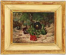 FOLLOWER OF WILLIAM HENRY HUNT 1790-1864. Oil on milled board. 'Flowers & Fauna'. Board supplied by Geo. Rowney & Co, 51 Rathbone Place. In a gilt and wash frame, 15cm x 19cm.