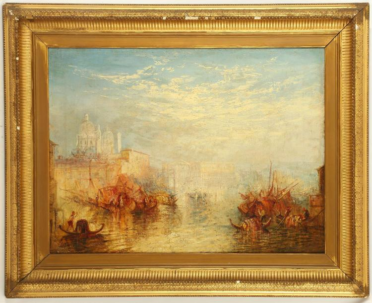 FOLLOWER OF JOSEPH MALLORD WILLIAM TURNER 1775-1851. 'Venice seen from the Giudecca Canal'. Oil on canvas with good impasto, unre-lined and on a mid 19th Century stretcher. Bears monogram lower left 'J.M.W.T.' 40.5cm x 61cm in a period giltwood frame. By family repute, this work is possibly by a student of Turner's. Tuners's best known version of this view is in The Tate Collection, and dated 1840.