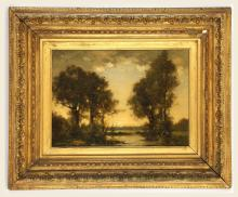 DAVID MURRAY SMITH R.B.A., R.W.S. Evening Trees and River'. Atmospheric oil on milled board, riverscape view. Signed lower left. In a good giltwood frame, 23.5cm x 34cm.