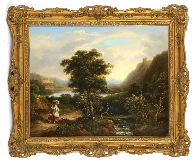P. MILON, CIRCA 1800. 'River Landscape with Washerwoman'. Oil on canvas, to the fore a washerwoman with child and dog, with distant views to sheep in the meadows and small sailboats. Re-lined. With original bill of sale dated 1964. 35cm x 43cm in a good giltwood frame.