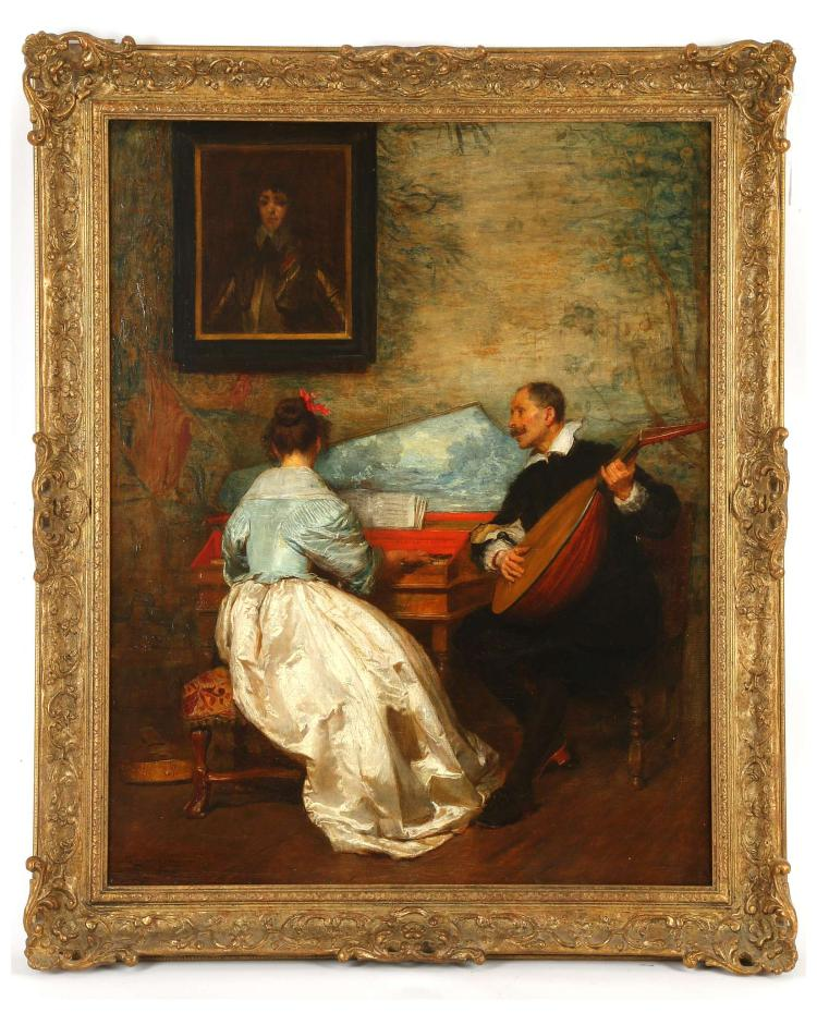 JOHN SEYMOUR LUCAS R.A. 1849-1923. 'Phyllis is my only Love'. Fine interior scene with a male lute player serenading a female companion at the keyboard. Signed lower left, further signed verso on the canvas. In a good period giltwood frame. 76cm x 60cm.